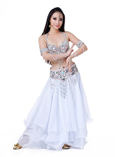 Christmas Gift Silver Sexy Belly Dance Performance Costume Women Stage Dress