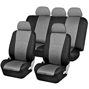 Universal Car Seat Cover Full Set Front Airbag Airbags Ready & Rear Split 40/60 50/50 60/40 Gray / Black Uaa001 by U.A.A. INC.