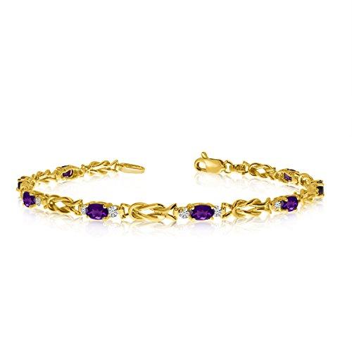 14K Yellow Gold Oval Amethyst and Diamond Bracelet (7 Inch Length)