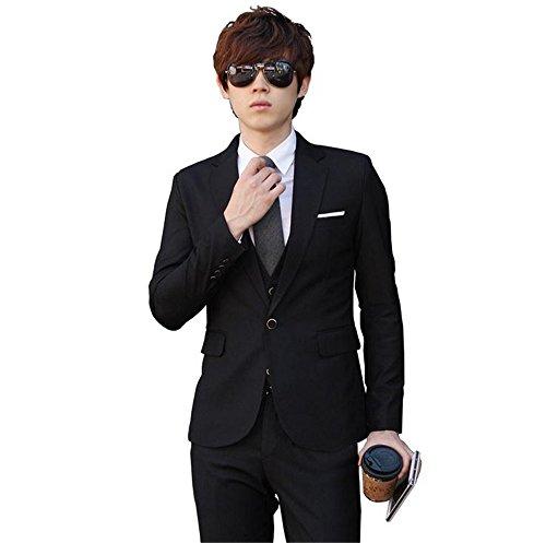 メンズスーツ 一つボタンジャケットスーツ  ビジネススーツ メンズスリムスーツ  ベスト付き 3ピース セットスーツ ドレススーツ  紳士服/スーツ/入社式/卒業式/就活/就職/結婚式スーツ オールシーズン  一つボタンスタイリッシュスーツ メンズ ビジネス スリムスーツ NW-039 (XXXL, ブラック)