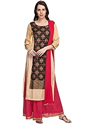 Kashish By Shoppers Stop Womens Printed Beige Skirt Kurta Dupatta Set