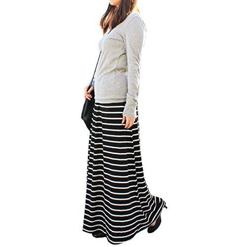 (パネットマーケット)panet-market シンプルセレブなボーダーマキシスカート ロングスカート (M, ブラック×ホワイト)