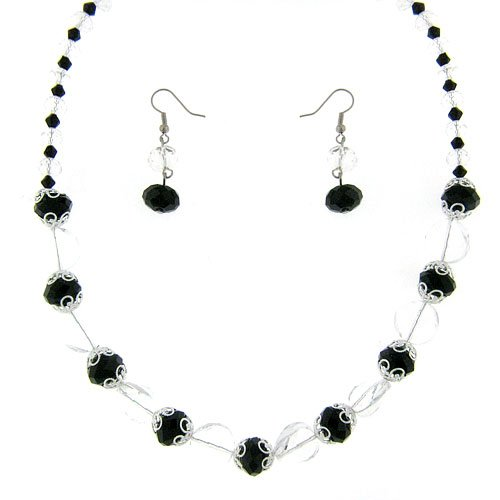 536f 28 Bead Black Clear Necklace Earring Set
