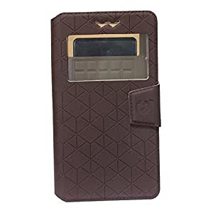 J Cover Toto Series Leather Pouch Flip Case With Silicon Holder For Lava P7 Plus Coffee