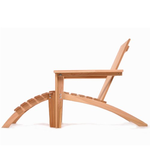 Western Red Cedar Adirondack Easybac Chair and Ottoman Set - Patio and Garden Furniture