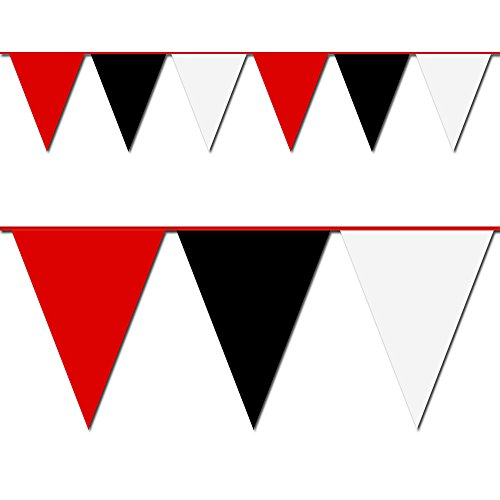 Red, Black and White Triangle Pennant Flag 100 Ft. (Heavy Duty Flag Streamers compare prices)
