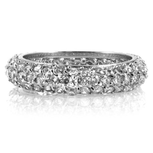 Cassie's Pave CZ Eternity Band- Clear .925 Sterling Silver w/Cubic Zirconias Engagement Anniversary Wedding Ring Size 8