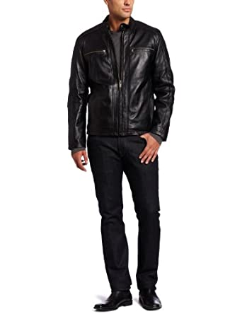 Marc New York by Andrew Marc Men's Boston Rugged Lambskin Leather Moto Jacket, Black, Medium