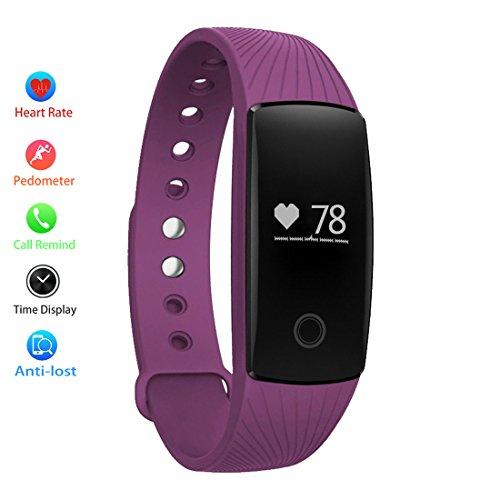 TINCINT スマートブレスレット 心拍計 活動量計 消費カロリー 歩数 走行距離 睡眠検測 遠隔カメラ 着信通知 携帯紛失防止 生活防水 スポーツ 健康管理 Bluetooth 4.0 スマートウォッチ Android4.4/Iphone、iOS7.1以上のスマホ端末に  (紫)