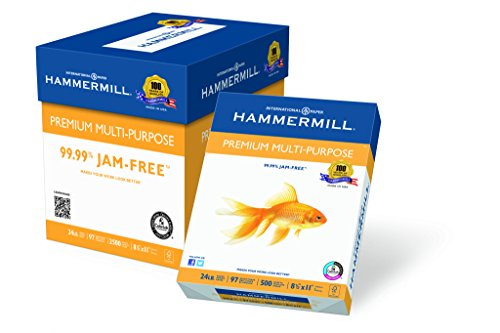 Hammermill Premium Multi-Purpose, 24 lb, 8 1/2 x 11 Inch, 97 Bright, 2500 Sheets/5 Ream Case (105810C)