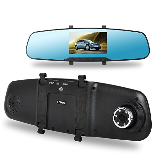 Tprance® Du808 Hd 1044*1080P Rear View Mirror Camera Dual 140 Degree Wide Angle 4.3 Inch Montion Detection With Night Vision Sos G-Sensor 16G Tf Card