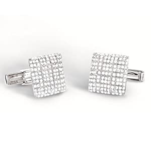2.25ct 14k White Gold Diamond Pave Cuff Links