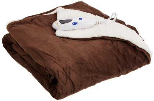 Biddeford 4480-9064114-711 Heated Micro Mink/Sherpa Throw, 50 By 62-Inch, Chocolate