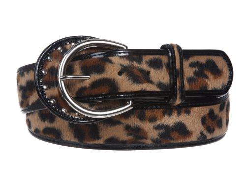 """1 1/2"""" Wide Ladies Patent Leather Leopard Print Animal Fur Fashion Belt Size: M/L - 36 Color: Beige"""