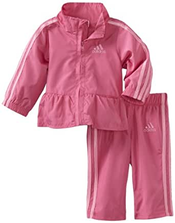 adidas Baby Girls' ITG Q15 Wind Pant and Jacket Set, Bright Pink, 12 Months