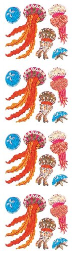 Jillson Roberts Prismatic Stickers, Jellyfish, 12-Sheet Count (S7180)
