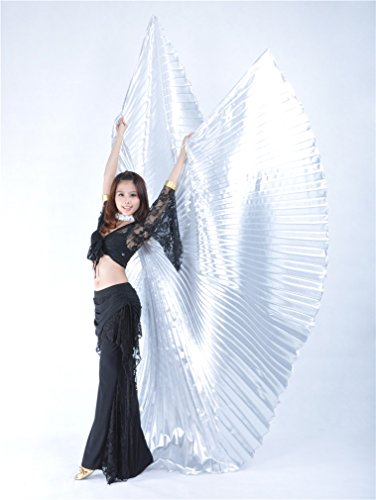 Dreamspell Special Opaque Silver Opening Belly Dance Isis Wings Fold Design