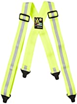 """Mutual 14509 Reflective Elastic Adjustable Suspender, 50"""" Length x 1-1/2"""" Width, Lime"""