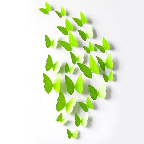 Ussore 12PC Wall Stickers Decal Butterflies 3D Mirror Wall Art Home Decors (Green)