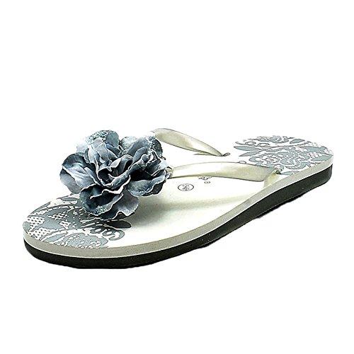 grey rosette toe flip flops