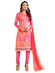 Women Icon Pink Embroidried Un Stitched Straight Suit WIC3SHD3002