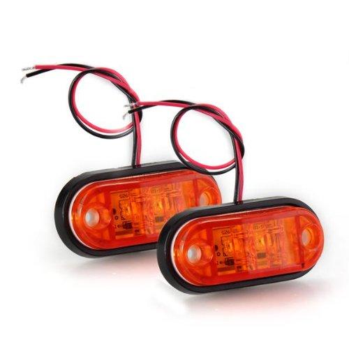 2 X Car Truck Trailer Piranha Led Side Marker Blinker Light Lamp Bulb Amber 24V