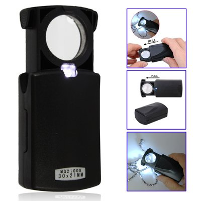 Glass Magnifier Eye Lens - Illuminated Dual Magnifying Glass 30X - 21Mm And 60 X - 12Mm With Led Light - Ideal Jewellers Loupe Or Currency Detector Pocket Microscope With Lamp