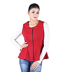 Owncraft Women's Woolen Jacket (Own_183_Red_Large)