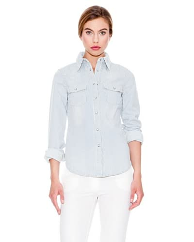 Mango Camisa Rayas Azul Marino