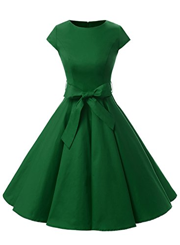 Dressystar Vintage 1950s Polka Dot and Solid Color Prom Dresses Cap-sleeve M Army Green