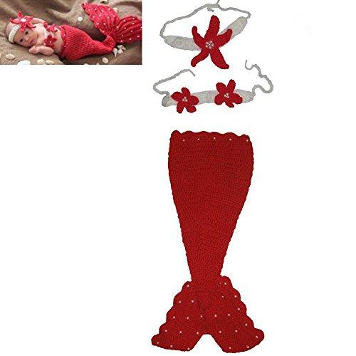 DAYAN Handgefertigte Baby-Mütze Mädchen Meerjungfrau Kostüm Crochet Knitting Props Cartoon nette Rote