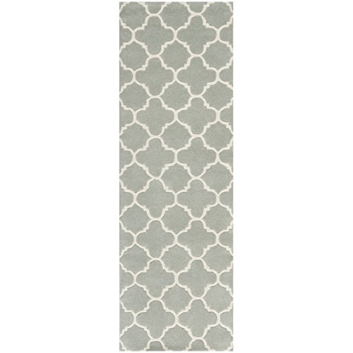Safavieh Chatham Collection CHT717E Handmade Grey and Ivory Wool Runner, 2 feet 3 inches by 7 feet (2'3