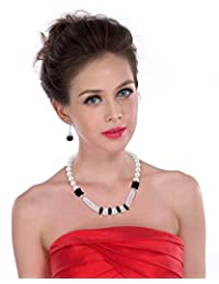 Pearlz Ocean White Shell Pearl And Black Obsidian Necklace Set