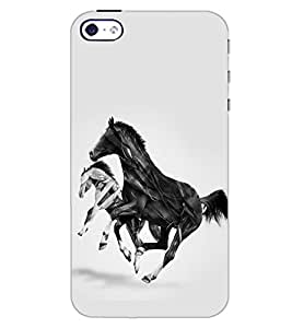 PrintDhaba HORSE ART D-6367 Back Case Cover for APPLE IPHONE 5S (Multi-Coloured)
