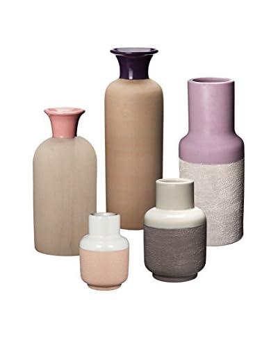 Artistic Set of 5 Hakura Sand Vases, Grape/Lavender/Pink/White