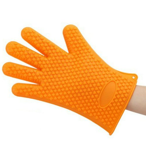 Gracelife Thick Silicone Padded Oven Mitts Five-Finger Non-Skid Microwave Oven Gloves Heat Insulated (Piece) (Orange)