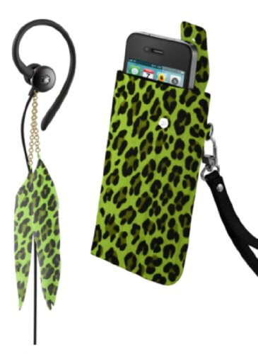 Ihip Snooki Couture Fashion Combo Pack With Feather Earphones And Feather Universal Phone Case - Retail Packaging - Green