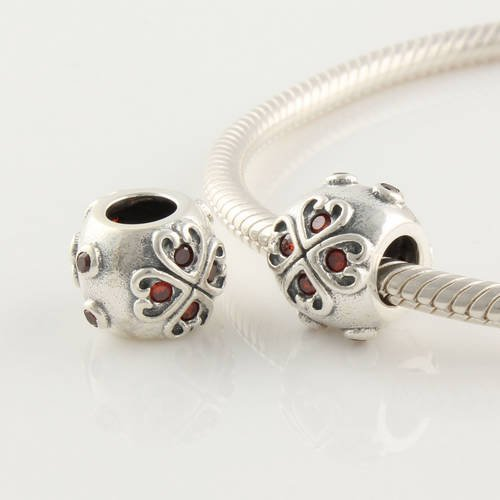 General Gifts 925 Sterling Silver Hearts With Garnet Cz Czech Crystal Charms/Beads For Pandora, Biagi, Chamilia, Troll And More Bracelet