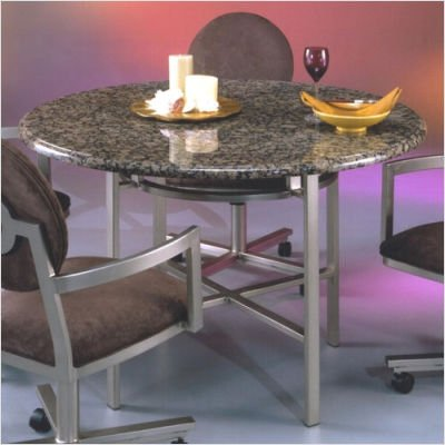 """Dunhill Marble Top Dining Table Base Finish: Phantom, Table Style: 48"""" Travertine in Cream Desert"""