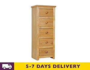 Hamilton Oak 5 Drawer Narrow Chest of Drawers with Real Dovetail Joints