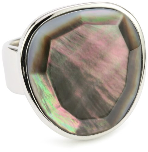 ELLE Jewelry Grey Mother-of-Pearl Faceted Sterling Silver Ring