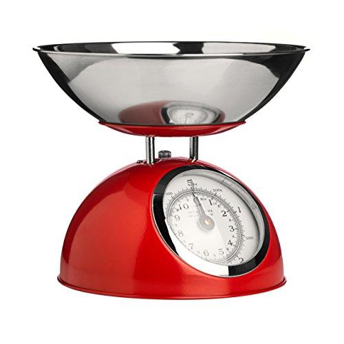 Premier Housewares 0807276 Balance de Cuisine Electronique avec Bol Acier Inoxydable Rouge