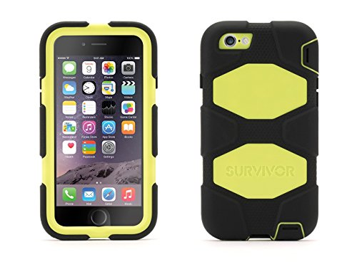 Griffin Black/Citron Survivor All-Terrain Case + Belt Clip for iPhone 6/6s 4.7 - Mil-spec tested, real-world proven protection (Citron Panel compare prices)