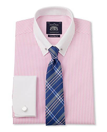 Savile Row Men's Pink White Bengal Stripe Pin Collar Extra Slim Fit Shirt savile row men s blue red check short sleeve slim fit casual shirt
