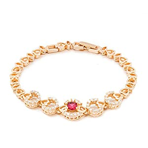 Romantic Time Heart Connected Zirconia Stone Studded Shiny Ruby Gemstone 18k Rose Gold Plated Amulet Link Bracelet
