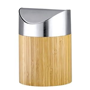 axentia 251076 bonja poubelle en bambou pour salle de bains 2 l cuisine maison. Black Bedroom Furniture Sets. Home Design Ideas