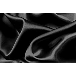 Soft Silky Satin Solid Black 4pc Deep Pocket Sheet Set for Queen Bed