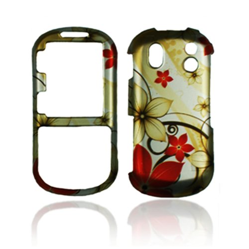 Rubberized Gold Red Flower Snap on Design Case Hard Case Skin Cover Faceplate for Samsung Intensity 2 U460