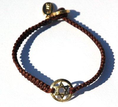 Gold Star of David on Braided Brown Bracelet Handmade Jewish Jewlery