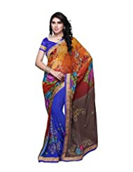 Aaliyah Women's Georgette Saree With Blouse Piece(Blue) - B00XL9KGG0